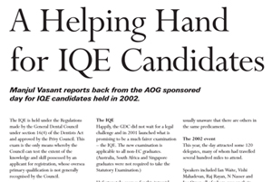 A Helping Hand IQE Candidates
